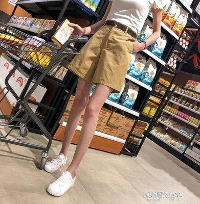 闊腿短褲女五分褲bf風寬鬆學生休閒大碼高腰中褲子胖mm潮