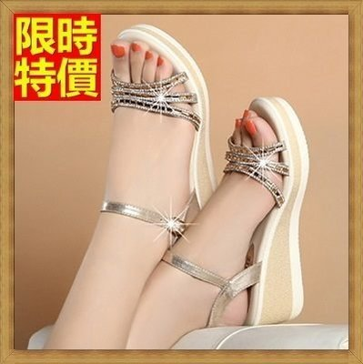厚底涼鞋 楔型涼鞋(零碼賠售出清、恕不退換)-坡跟優雅閃耀水鑽真皮女鞋子69w18[獨家進口][米蘭精品]