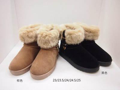 iris美鞋館(08-t701)仿兔毛側扣飾保暖雪靴《黑棕》