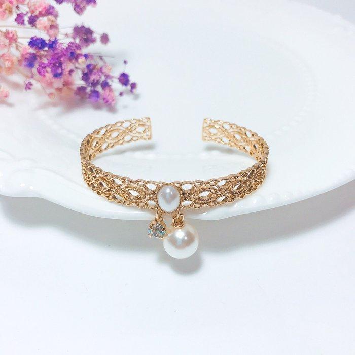 韓國❤️絕美 皇家 蕾絲 珍珠 水鑽 垂墜 手環 【Verina's韓系美飾】