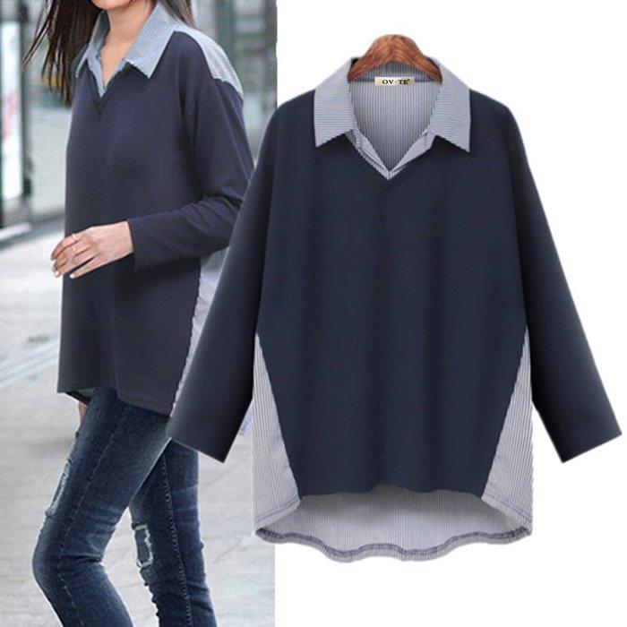 ✿ 吉米花 ✿ B-095656 百搭襯衫領假兩件上衣T恤 ( 藍 4XL ) 中大碼 現貨
