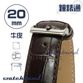 【鐘錶通】C1.28I《亮彩系列-手拉錶耳》鱷魚格紋-20mm 古典褐┝手錶錶帶/皮帶/牛皮錶帶┥