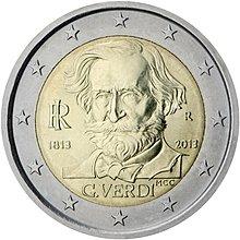 【幣】2013 EURO  義大利發行 音樂家威爾第 2歐元紀念幣