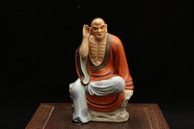 ㊣姥姥的寶藏㊣民國粉彩描金十八羅漢雕塑瓷像之挖耳羅漢