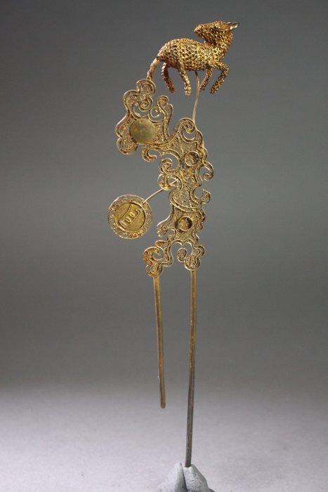 悅年堂 --- 晚清 銀鎏金 麋鹿 髮釵 金釵