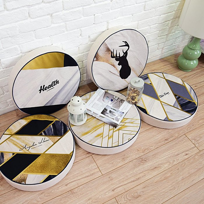 北歐風椅墊 金屬系 幾何麋鹿棉麻透氣厚款椅墊 客廳 租屋 房東 宿舍 房間裝飾 可拆洗 舒適美觀 |悠飾生活|