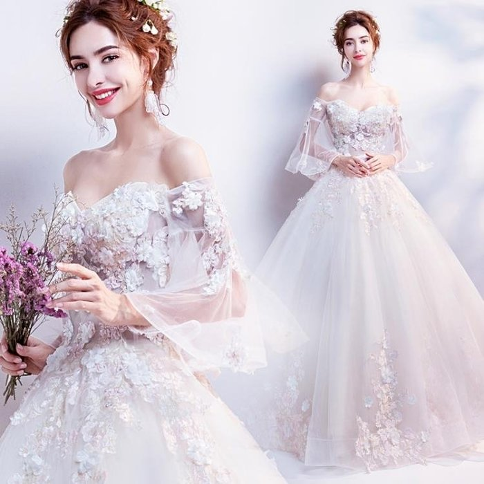 仙氣花瓣 空氣感喇叭袖 夏季新款新娘長袖婚紗禮服1816Y-優思思