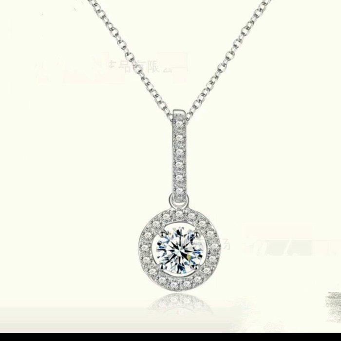 二克拉主鑽微鑲高碳鑽微鑲鑽墜鏈仿真鑽項鍊金剛火彩時尚款式ZB鑽寶