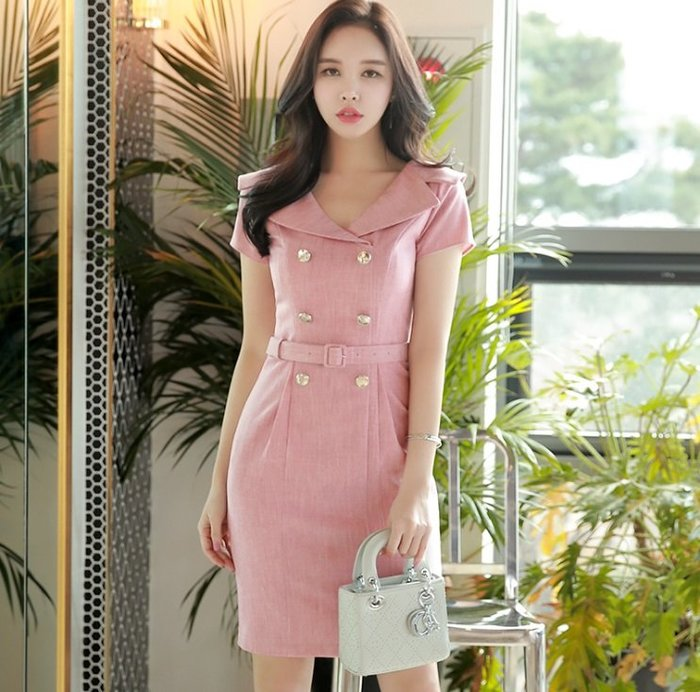 短袖洋裝淺粉色V型西裝翻領附腰帶雙排扣花苞窄裙短袖洋裝許願魔鏡@wishing Mirror-*-D18BDR163