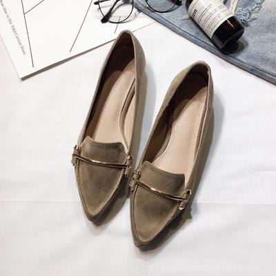 韓版時尚尖頭淺口單鞋 女士春季新款2018 絨面金屬裝飾平底平跟鞋