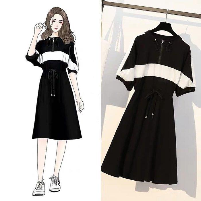 韓版休閒寬鬆收腰連身裙洋裝長裙