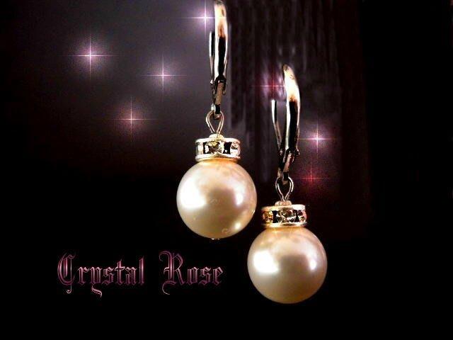 ※水晶玫瑰※ SWAROVSKI 10mm水晶珍珠 耳勾耳環(P9)~出清