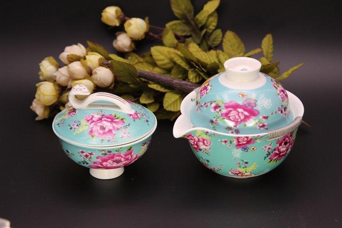 【二手好物】陶瓷丞漢花團錦簇 綁繩如意旅行組 套裝茶具(綠)