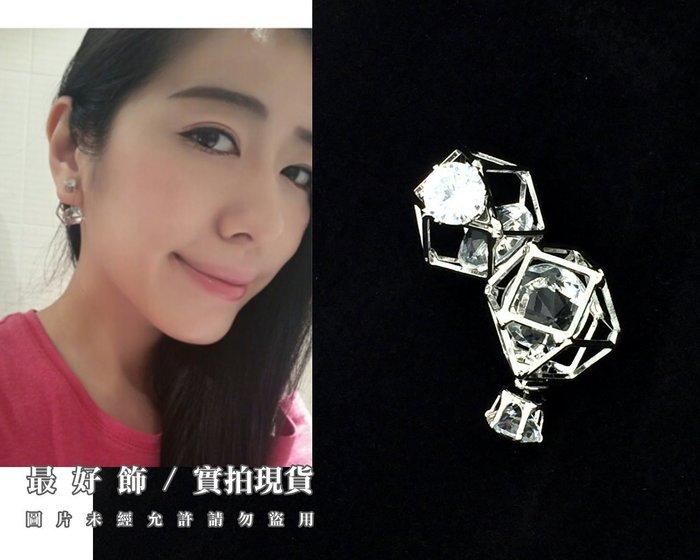 【台中好物】歐美時裝秀場款 銀色幾何鏤空閃鑽造型二用耳環 鑽石縷空 耳釘 耳針 耳環