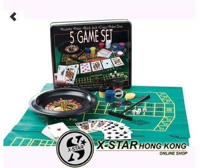 1629988 5 GAME SET 輪盤轉轉樂 籌碼 五合一 轉盤 籌碼 套裝 多功能籌碼套裝 包SF門市自取