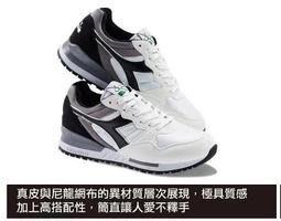 北台灣大聯盟 diadora INTREPID NYL男/女款經典復古跑鞋(原廠進口) 7027-白黑 限量特賣890元