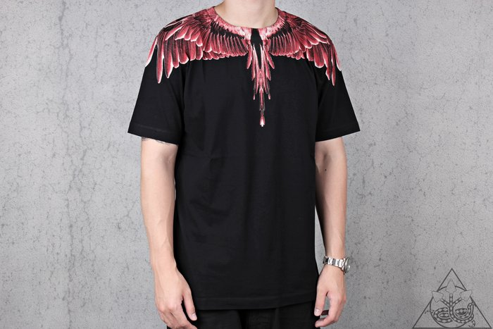 【HYDRA】Marcelo Burlon Red Ghost Wings T-Shit 翅膀 羽毛 短T【MB30】