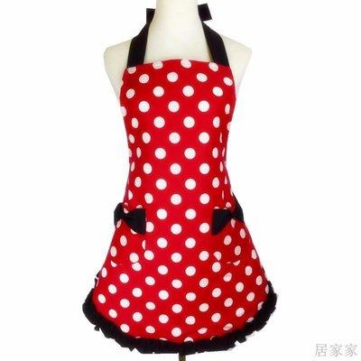 居家家 圍裙女家用廚房可愛韓版時尚公主蝴蝶結成人訂製純棉工作圍裙logo