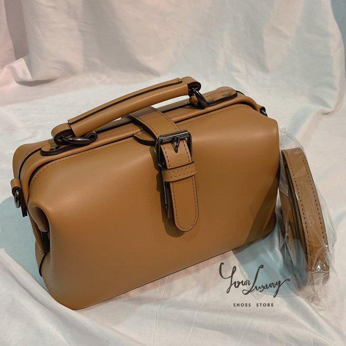 【Luxury】韓國製 珠寶盒包 手提 肩背 斜背 多樣性背法 黑 綠 米 咖啡 駝色 5色 合成皮 素面 硬殼包