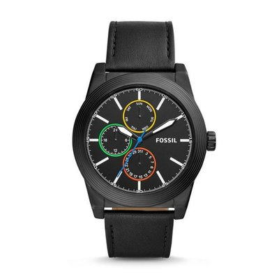 FOSSIL GEOFF MULTIFUNCTION LEATHER WATCH