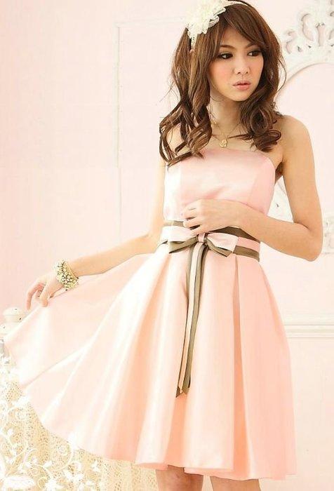 【一百元起標無底價】HD2210仿綢緞蝴蝶結平口洋裝小禮服‧粉L
