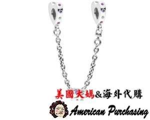 美國大媽代購 Pandora 潘朵拉 鑲鑽新款明亮的心安全鍊 925純銀 Charms 美國代購
