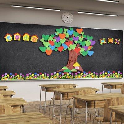 貼紙幼兒園墻面裝飾教室班級布置黑板報主題墻墻貼紙貼畫學習園地泡沫