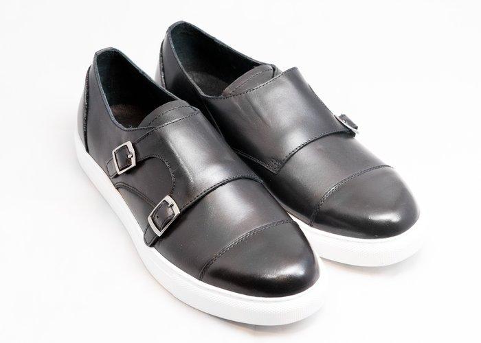 開普托休閒孟克鞋:手工上色小牛皮真皮皮鞋男鞋-黑色-免運費-[LMdH直營線上商店]E2B03-99
