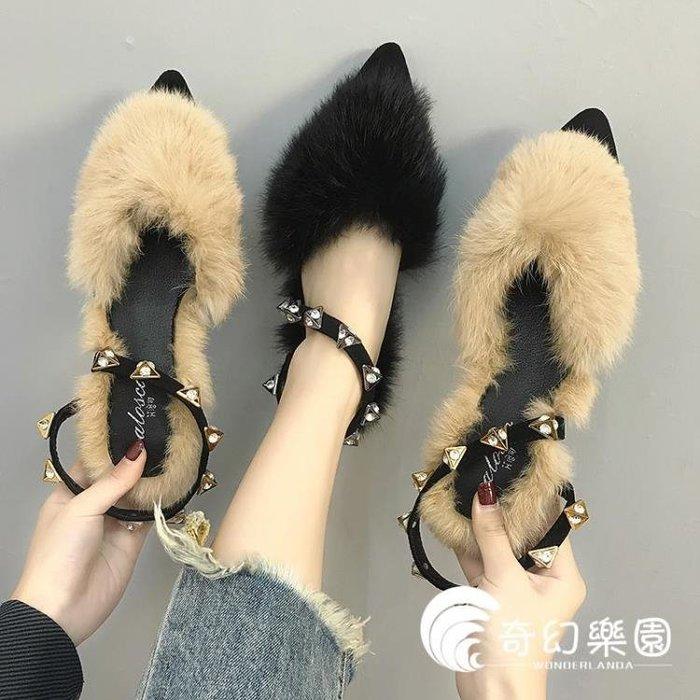 網紅鞋子女2018秋季新款韓版百搭尖頭時尚平底女鞋包頭社會毛毛鞋