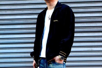 DIESEL UMLA-MAX-CZ SWEAT-SHIRT 拉鍊 絲絨 立領 外套 黑色