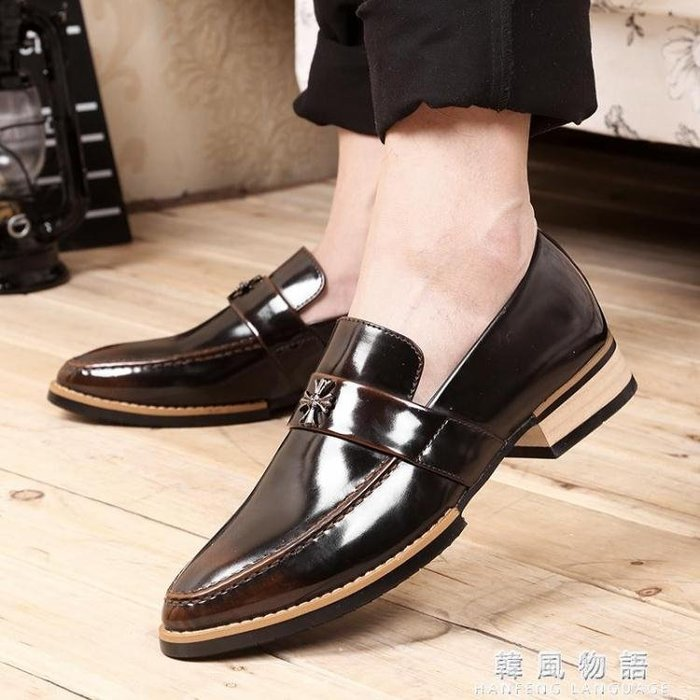 秋季透氣尖頭男士商務韓版潮休閒小皮鞋英倫牛津鞋漆皮婚鞋男鞋子
