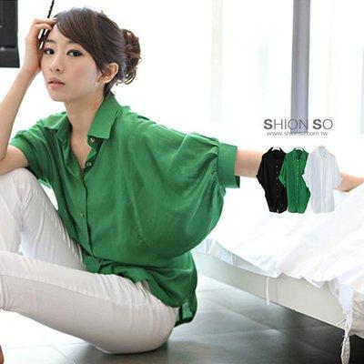 享瘦衣身中大尺碼‧【B1188】時尚名媛風蝙蝠袖造型襯衫