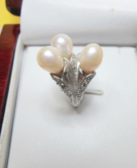 [庫存促銷品]正橢圓天然完美無暇南洋白透粉光珍珠10-11MM3A+級造型戒指
