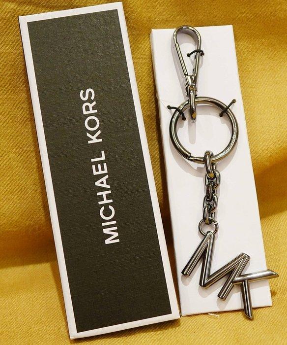 大降價!全新 Michael Kors MENS MK 砲銅材質深銀色LOGO鑰匙圈吊飾,低價起標無底價!本商品免運費!