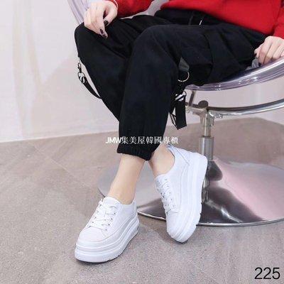 JMW集美屋韓國專櫃2019春季新款娜英姿夢松糕厚底真皮系帶板鞋小白鞋休閑女鞋225