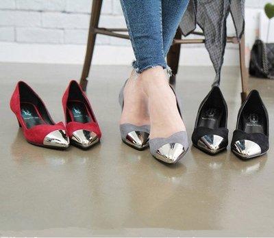 =WHITY=韓國BAGAZI品牌 韓國製   大牌新款中跟時尚舒適百搭尖頭鞋 氣質顯瘦 吳佩慈 S5JG432