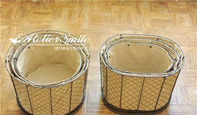 [ Atelier Smile ] 鄉村雜貨 復古作舊 鐵製 圓形收納籃 麻布內裡  # 中款  (現+預)
