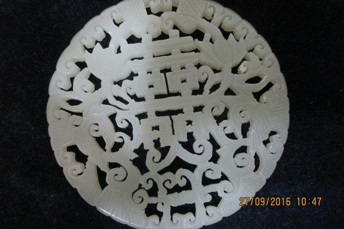 【福元齋】T2255白玉縷雕雙喜花鳥墜飾  尺寸: 58x58x4mm  重量: 19  g