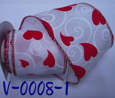 愛心圖案印刷拷克帶【V-0008-1】~Janes Gift~Ribbon
