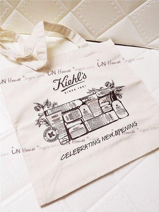 IN House* KIEHL'S 契爾氏 專櫃贈品 輕便 單肩包 帆布袋 棉布 托特包 摺疊 環保 購物袋 超大 書袋