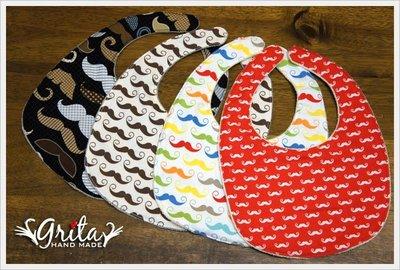 ♥grita's handmade♥純棉手作嬰幼兒圍兜兜/領巾/口水巾/三角巾/彌月禮—翹鬍子系列
