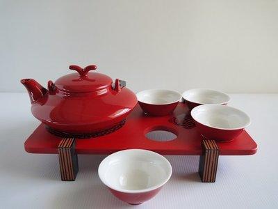 ※茶巨代售※^_^全新『富貴紅新骨瓷茶具組』※滿仟免運費※