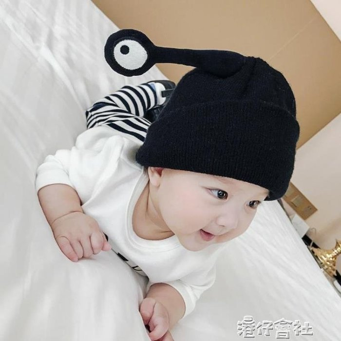 嬰兒帽子春秋冬季0-3-6-12個月男女寶寶毛線帽1-2歲大眼睛針織帽
