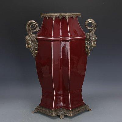 ㊣姥姥的寶藏㊣ 大清乾隆祭紅釉回流瓷鑲銅雙胞胎尊  官窯古瓷器手工古玩古董收藏