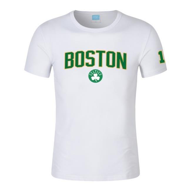 夏凱爾特人綠金色印花T恤 11號歐文籃球圓領運動短袖上衣 town