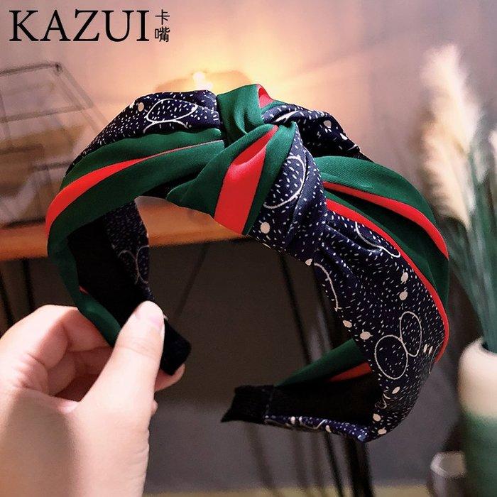 韓國發飾網紅發卡紅綠條紋打結發箍女士壓發寬邊頭窟洋氣頭箍頭飾