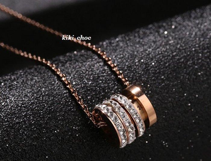 ♥kiki choc♥ *鈦鋼材質* 橫式圓柱綴細鑽圈圈項鍊/鎖骨鍊