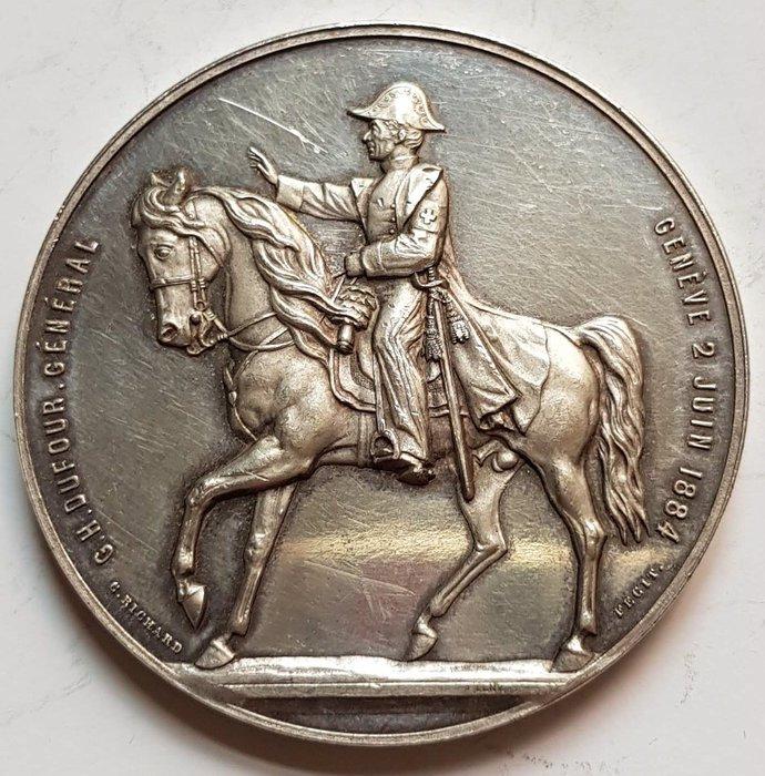 瑞士銀章 1876 1884 G.H.Dufour General, Silver 47MM Mintage: 32