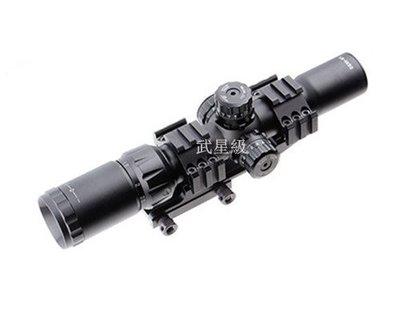 台南 武星級 1.5-4X30 狙擊鏡 ( LED綠點紅外線外紅點內紅點快瞄定標器瞄準鏡望遠鏡雷射紅雷射綠雷射瞄具