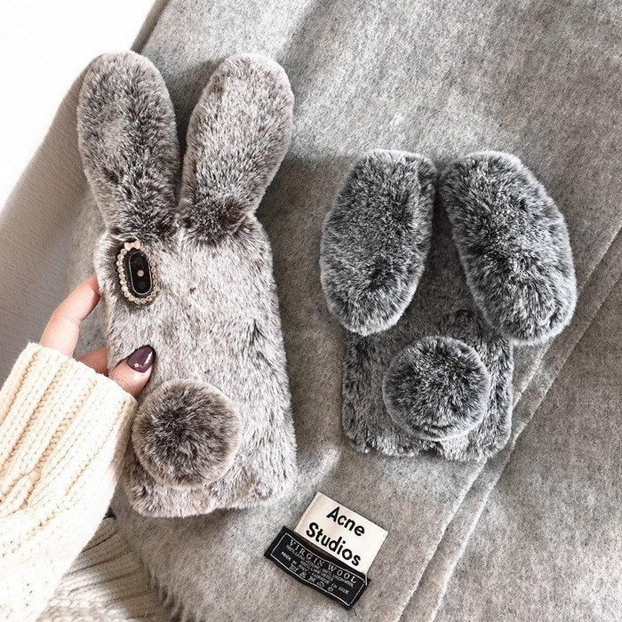 iPhone XS Max XR X 8 7 6S 6 plus 手機殼 懶兔毛 真兔毛 兔耳朵 毛絨冬季款 保護套